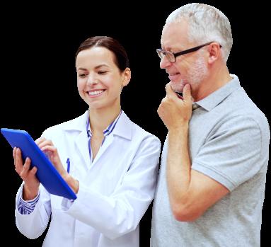 senior man and a pharmacist smiling
